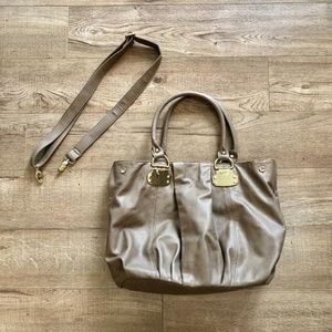 Aldo Taupe/ Nude Purse with Gold Accents